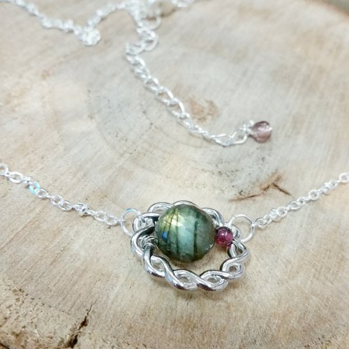Garnet, labradorite silver-plated necklace section