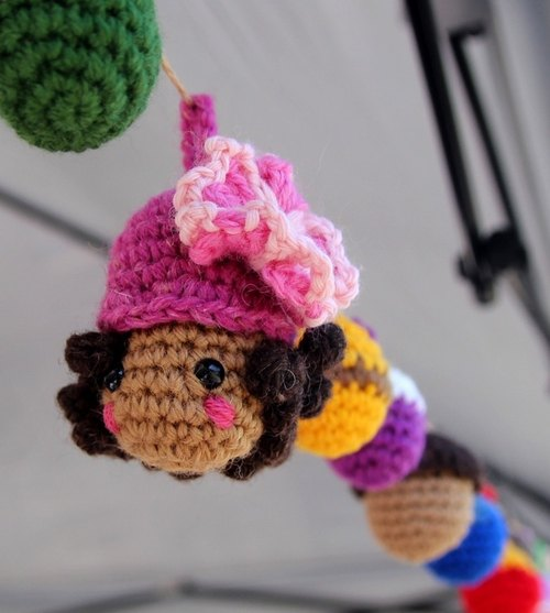 Amigurumi crochet: Camping ball,colorful woolen ball, Pom Pom Garland, doll with dark skin