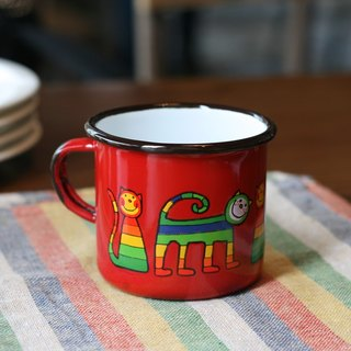 Smaltum Prague enamel cup shy meow microphone _ eggplant red (250ml) <FDN000153>