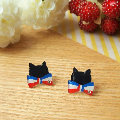 Meow elegant French original hand-made butterfly black cat earrings (clip-on can be changed)