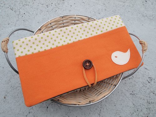 Bright orange Bluebird passbook bag / wallet long clip