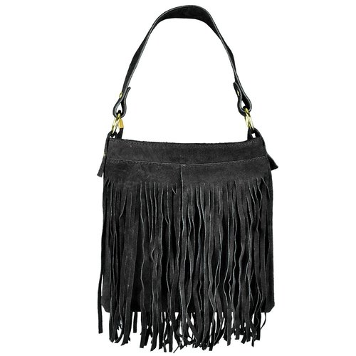 [] Italian Giulia Italian made leather fringed square bag (black)