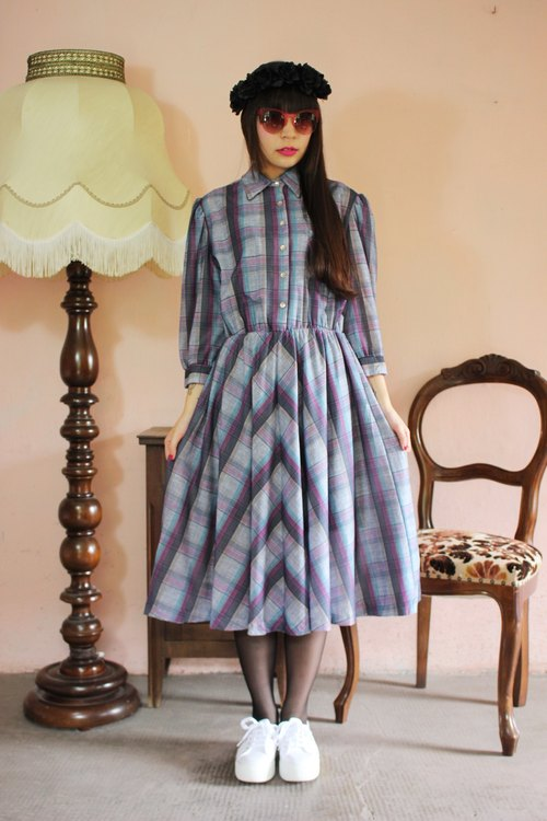 F1123 [American-made bids] (Vintage) gray and purple green plaid long-sleeved cotton skirt wave vintage dress