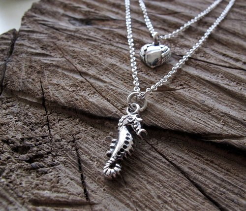 Sterling Silver duplexes - love hippocampus silver chain