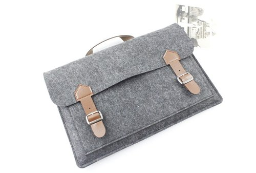 Original handmade dark gray blankets Apple computer protective sleeve blanket gloves bag 13-inch laptop bag computer bag MacBook Pro 13.3 (can be tailored) - ZMY119DG13P