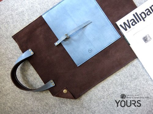 YOURS handmade leather bags neutral color with easily portable. Chen old leather suede + coffee (blue) to mark the constellation