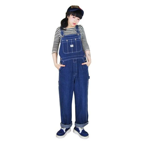 A‧PRANK: DOLLY :: VINTAGE vintage blue straight denim trousers suspenders