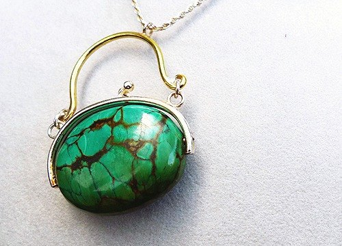 "Travel bag with No. 7 works ~ "" green Metallurgical stunning "" decorative arts series Pendant"