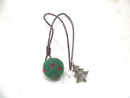 || || Lovely Christmas gift wool bookmark (green bottom red dots)