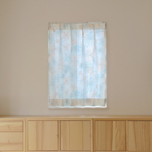 """MoRi MoRi"" Custom made curtains [ ""Hanabi""-Skyblue & Orange ] W 50cm~ 95cm / L 211cm~280cm"