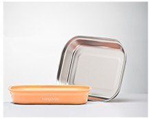 [Picnic. Nutritious lunch] Kangovou wallabies stainless steel safety flat plate - Orange Cream