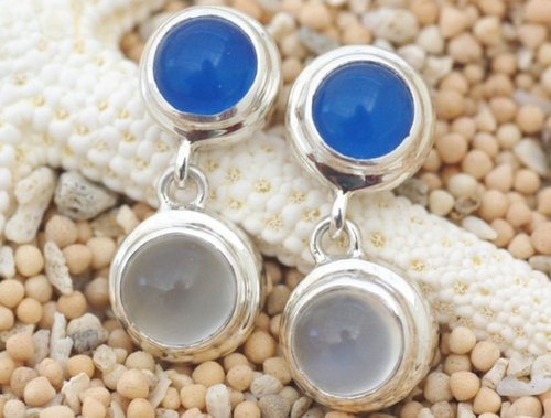 Blue Agate and Moonstone earrings
