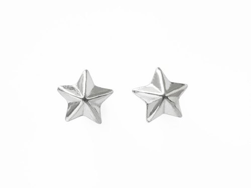 Partly star shining silver earrings