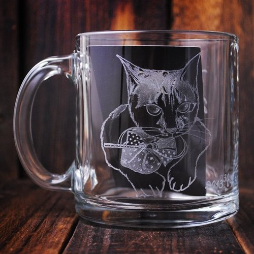 350cc [cat] cup (half realistic Version) US imported transparent heat-resistant glass mug cup glass hand-carved lettering Customized mugs mug