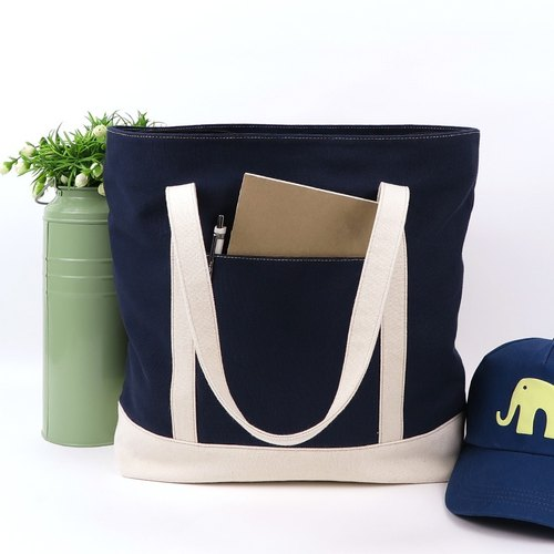 tote bag - navy blue+raw white(strap)