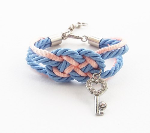 Blue and peach nautical bracelet with heart key charm.