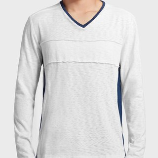 Men Long Sleeve V-Neck T-Shirt (White)