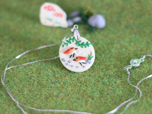 Birds polymer clay Necklace _ polymer clay pendant, woodland animals necklace, one-of-a-kind necklace