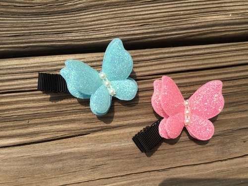 0902 small butterfly hairpin double