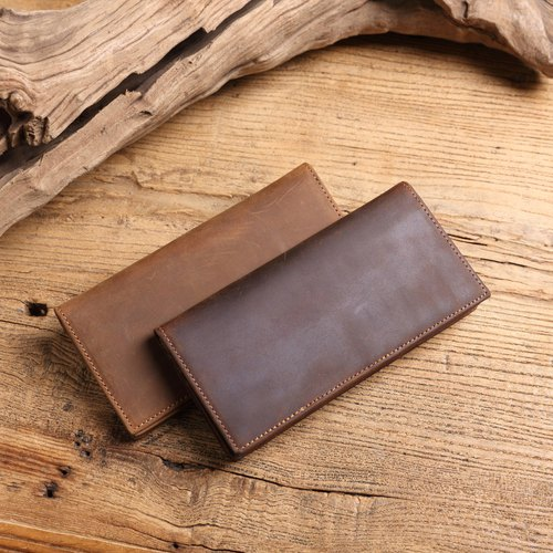 Soil settlement leather cow leather crazy horse leather long clip zipper coin bag design thin long clip leather men's wallet