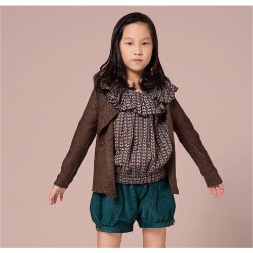 Ángeles- An He designer clothing green / brown knit cardigan blouse side (2 to 7 years old)