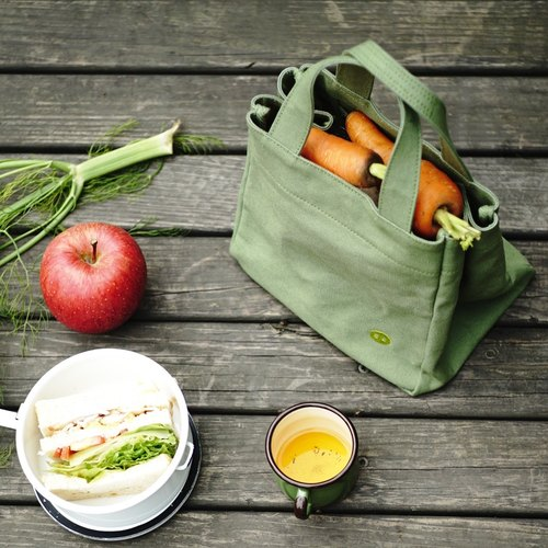 Mogu mushrooms washed canvas / lunch bag / Matcha green