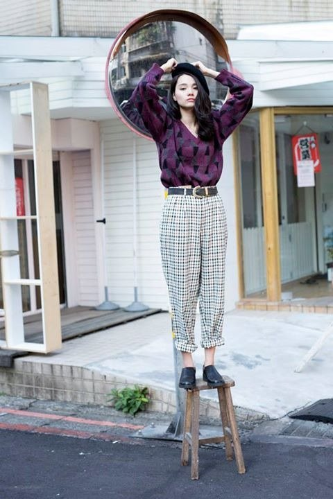 Plaid pants and white vintage