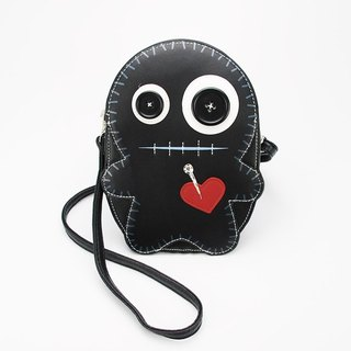Sleepyville Critters - Stitched Voodoo Doll Shoulder Crossbody Bag - black color