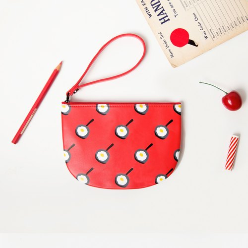YIZISTORE semicircle purse Cosmetic admission package - red Omelette