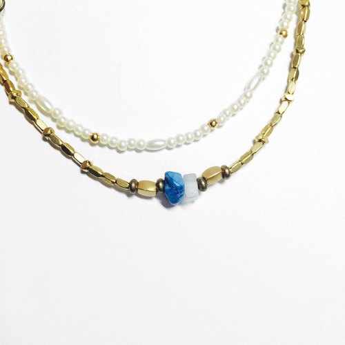 Snowflake * blue copper bracelet natural stone