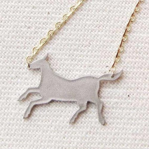Horse plate necklace (Silver)