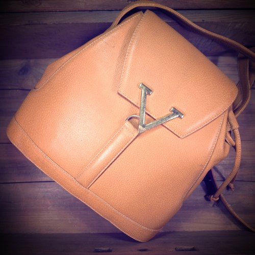 [Bones] Early Valentino orange embossed leather bucket bag beam port dorsal genuine antique print bag Vintage