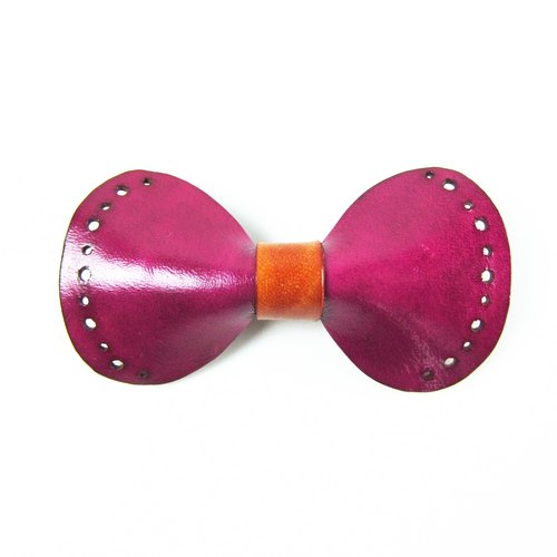 Leather bow hair clip_Pink