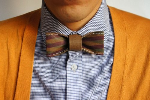 """Four-color classic gentleman tie models"" - brown violet stripes (gift / boyfriend / wedding wedding dress wedding feast / tie / tie)"