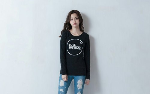 SU: MI said Love & Courage Long Sleeve Top ● 3AF001_ Black