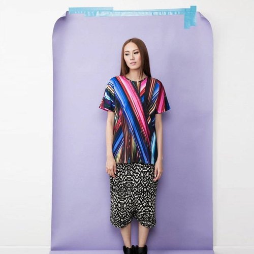 Striped Colorful Digital Print Top