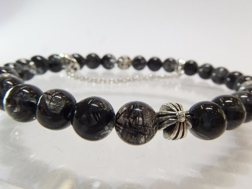 Interwoven Road - all natural black crystal +925 sterling silver hand 錬 Hong Kong design