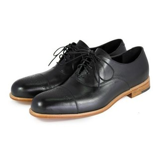 Spurge Laurel M1124 Black leather oxford shoes