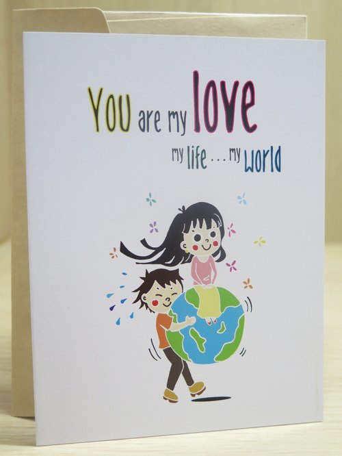 You are my world, boyfriend, girlfriend, couple, anniversary, unicorn, design their own greeting cards