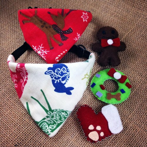 Keanfactory - limited Christmas Package Christmas Christmas deer sling, sling white Christmas with gingerbread men, Christmas Circle, cat and dog footprints socks gift S SIZE
