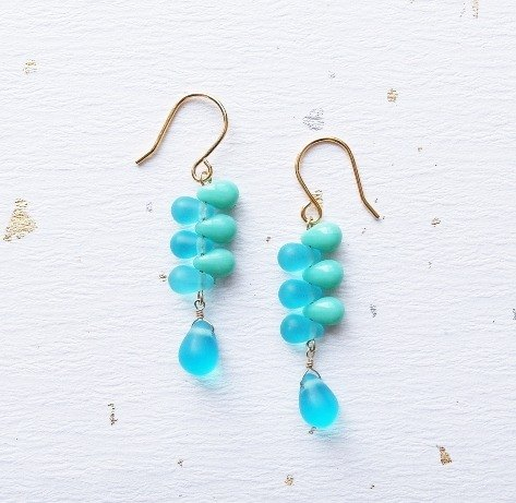 | Touch of moonlight | symbiotic Yun warm blue-green color leaflet drop earrings Turkey