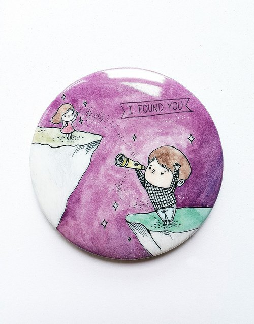 Elvis unappealing color illustration medallion / ballad theme I FOUND YOU / 58mm / Valentine's Day wedding was small / purple