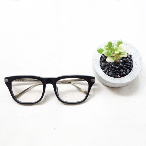 Matte black square glasses frame titanium metal temples