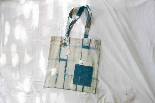 Endless rain 107 ::: Natural Indigo Totebag ::: cotton