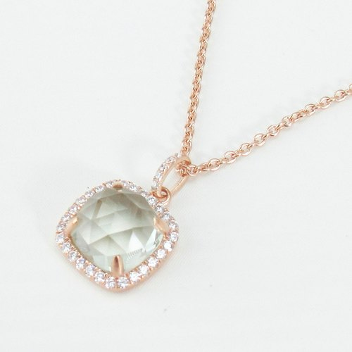 Serenity - 9mm Cushion Checkerboard Green Amethyst 18K Rose Gold Plated Silver Necklace