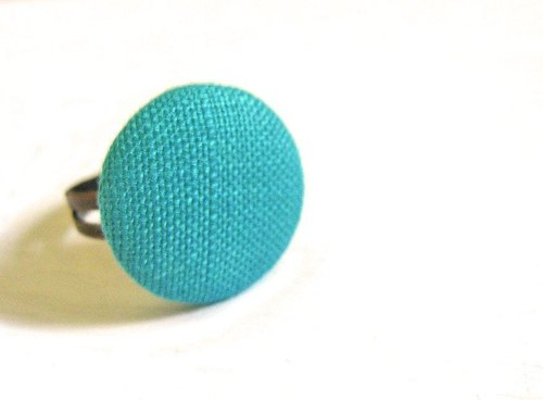 Ring hand-made cloth buttons blue lake