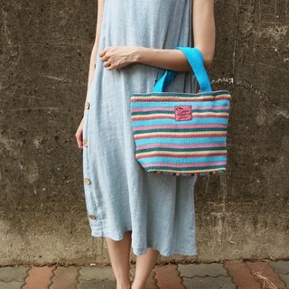 【Grooving the beats】Handmade Hand Woven Hand Bag / Tote Bag(Blue)