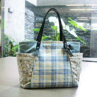 Rural wind sky blue checkered floral shoulder bag - exclusive hand-made hand-finished