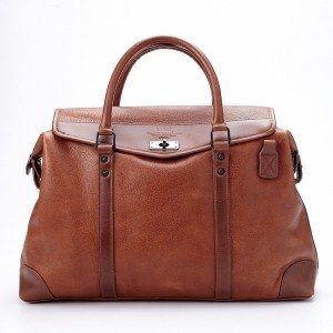 [McVing] The Walker brown melon grain leather double handles bag in Boston