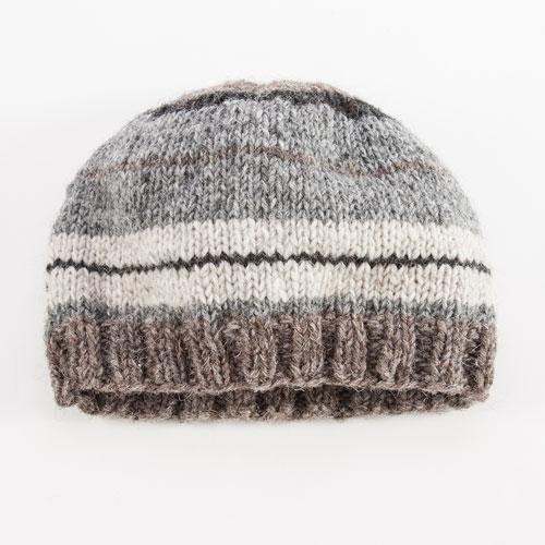 "Earth tree fair trade- ""hat Series"" - hand-knitted wool cap with gray stripes (for men and women)"